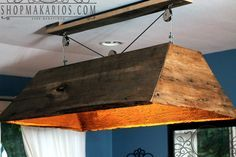 Hanging Barn Wood Light-- for the basement above the pool table!!