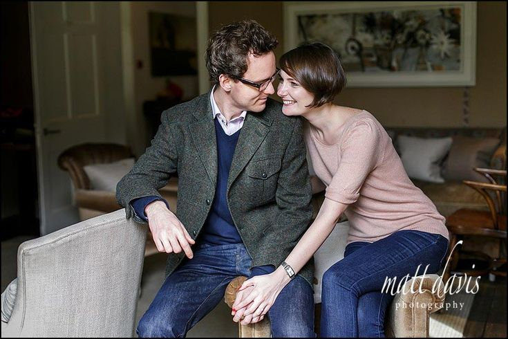 Natural relaxed looking engagement photos at Barnsley House, Gloucestershire