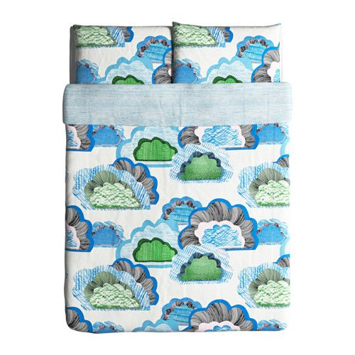 doftranka duvet cover and pillowcases white multicolor
