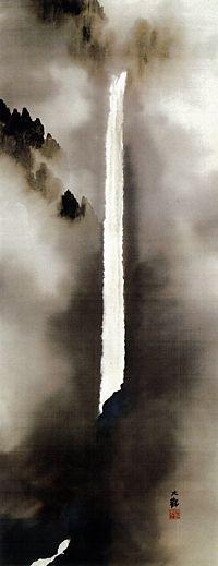 Yokoyama Taikan - Waterfall in Nachi, 1939 Of note: Yokoyama Taikan was the pseudonym of a major figure in pre-World War II Japanese painting. He is notable for helping create the Japanese painting technique of Nihonga. His real name was Sakai Hidemaro