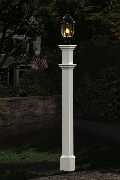 Features:  -Portsmouth lamp post.  -Lamp is not included.  -Sturdy solution to add illumination anywhere.  -Can sleeve over existing unsightly wood or metal posts.  -Can accommodate solar or wired lam