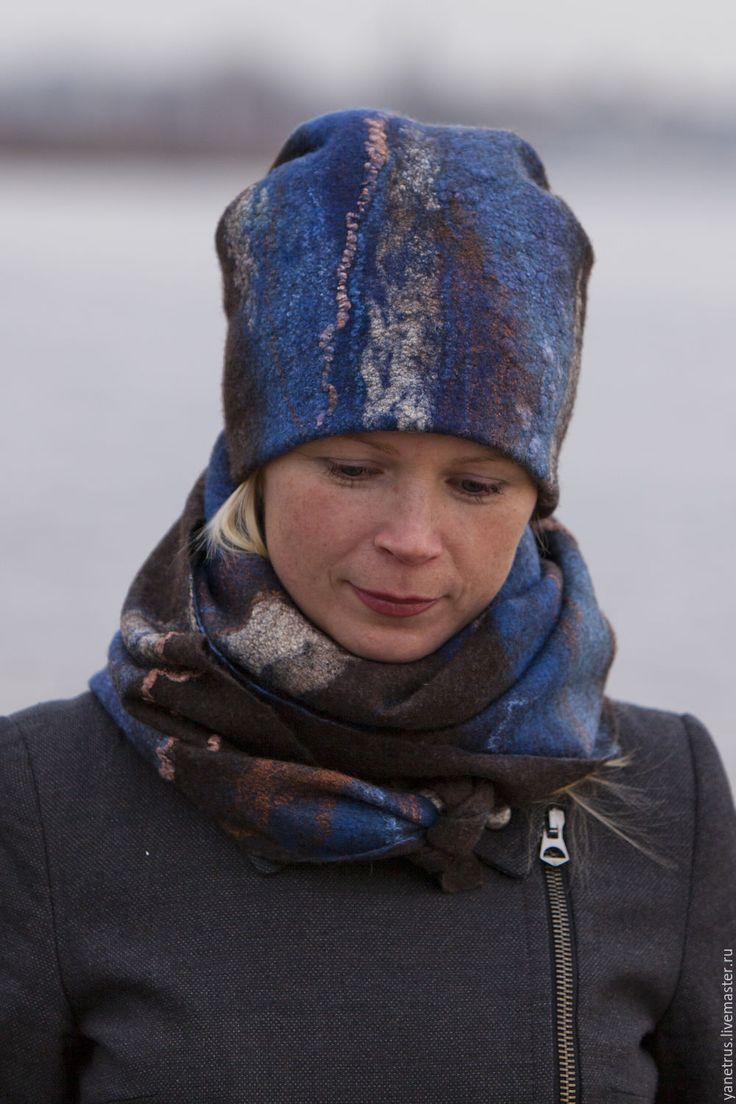 """Купить комплект валяный шапка и шарф шерстяные """" Северное море"""" - коричневый, темно-коричневый"""