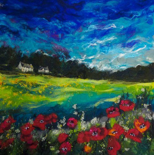 Poppy and Lime - Moy Mackay Gallery - Needle Felting aka Felt Painting