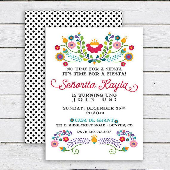 Fiesta Birthday Invitation, Mexican Invitation, Fiesta Party, Cinco De Mayo, 1st Birthday, Bridal Shower - Deposit