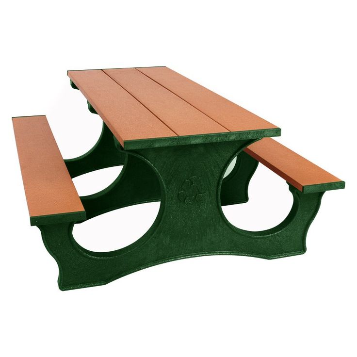 Outdoor Polly Products Tuff Easy Access Recycled Plastic Picnic Table Green Frame Cedar Top - ASM-PTEA8-GRN-CED