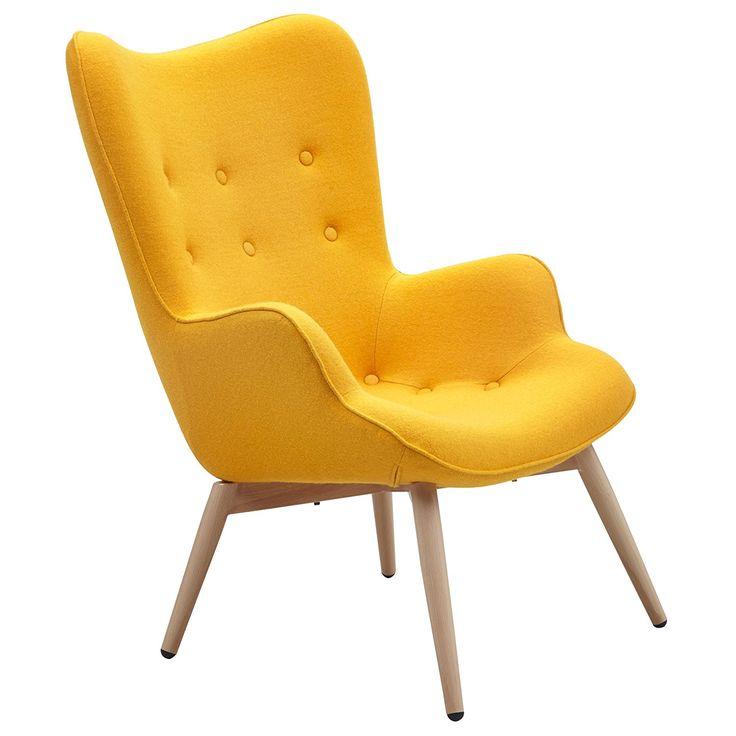 Designer Ohren Sessel Mit Armlehnen Aus Wolle Gelb   Anjo   Gelber Club  Sessel