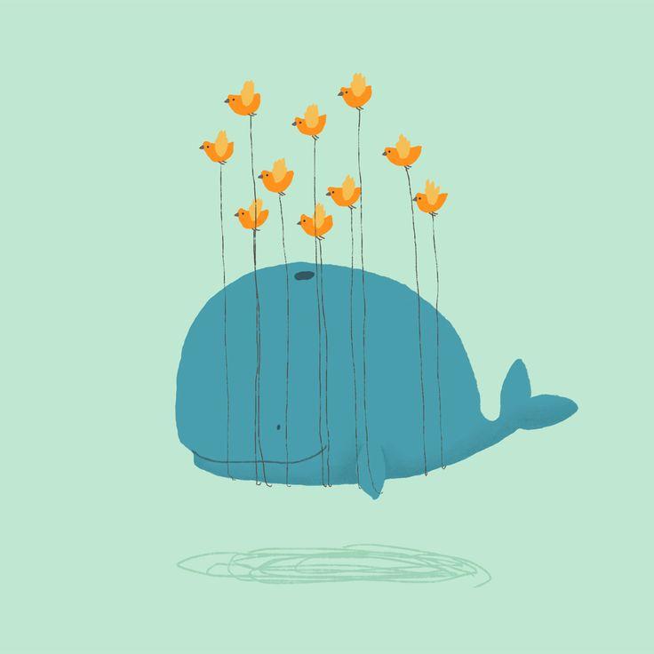 Whale muurschildering