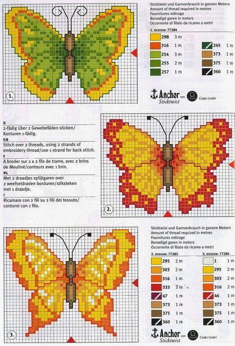Punto croce - Schemi Gratis e Tutorial: Raccolta di schemi a tema farfalle