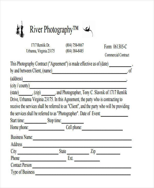 Commercial Photography Photography Contract Contract Template