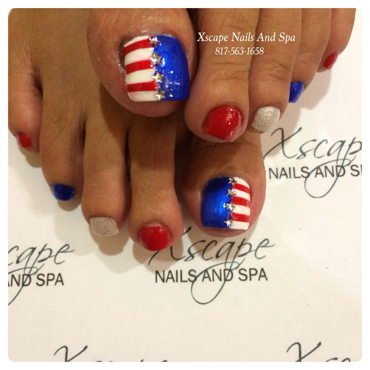 4th of july nails toe design