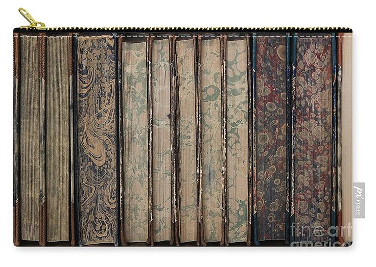 """Old Books Carry-All Pouch by Sverre Andreas Fekjan.  Our pouches are great.  They're availabe in sizes from 6"""" x 5"""" up to 12.5"""" x 8.5"""".  Each pouch is printed on both sides (same image)."""