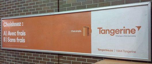Photo d'une publicité de Tangerine dans le métro. http://www.mesfinancesperso.com/blog/ing-direct-canada-devient-tangerine/
