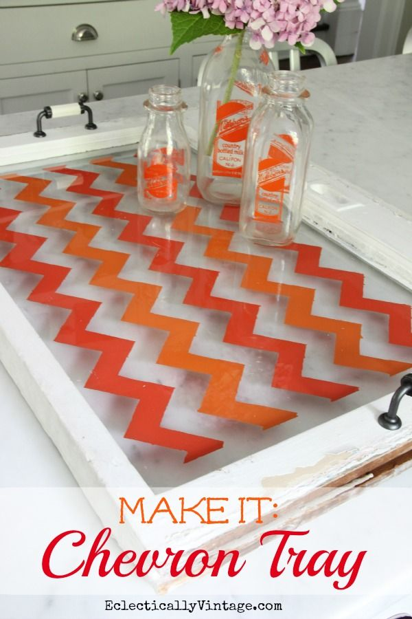 How to Paint Chevron - on old window or piece of glass - the easy way (no special stencils needed)!  #12monthsofmartha #marthastewartcrafts eclecticallyvintage.com