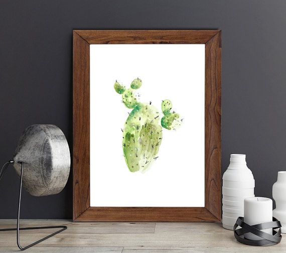 Botanical cactus watercolor printable art print from my latest work by ArtMii