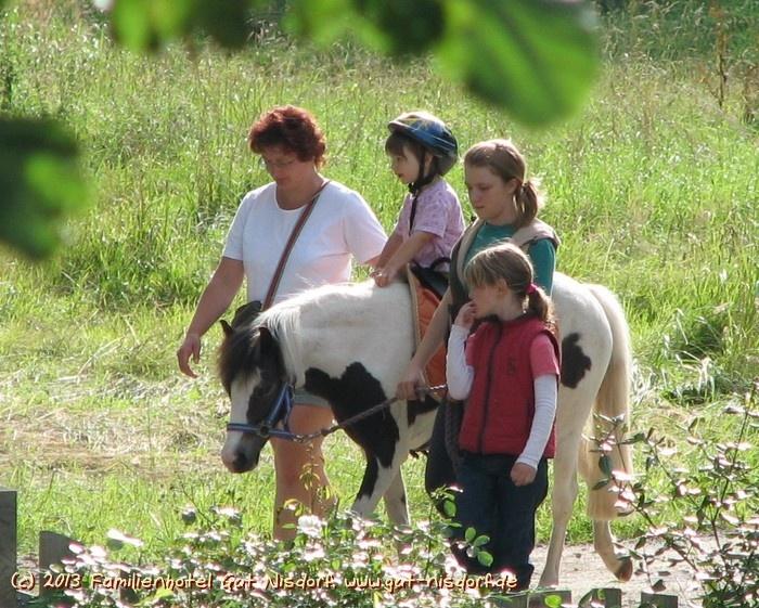 #Ponyreiten im Garten im #Familienhotel Gut Nisdorf   http://www.biohotels.info/de/pauschalen/hotel-detail.php?id=3294