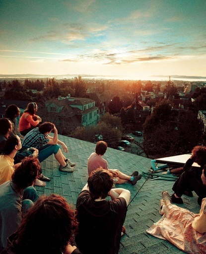 """Sunrise-sunset party. Guests arrive latenight and """"camp"""" on the roof--chatting, drinking, stargazing, etc. The party ends 3-4 hours later when the sun rises... because when have you shared a sunrise with any of your friends?"""