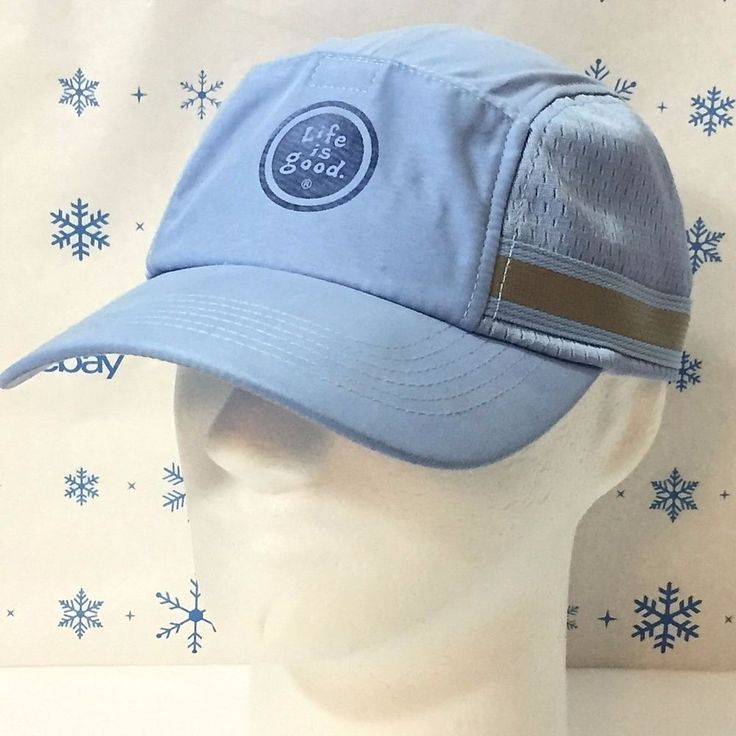 Life Is Good Hat Baseball Cap Sport Mesh Side Pocket Front Light Blue Adjustable #LifeIsGood #BaseballCap