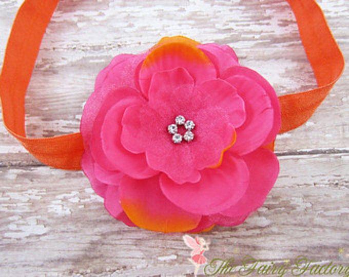 Caliente venda flores rosa y naranja, flor color de rosa caliente con diamantes de imitación naranja diadema o un Clip de pelo, la Mia, bebé recién nacido Niño niñas banda
