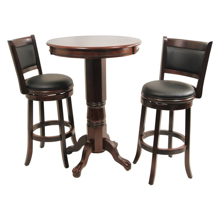 Boraam Augusta 3 Piece Pub Table Set - Cappuccino - BOR138
