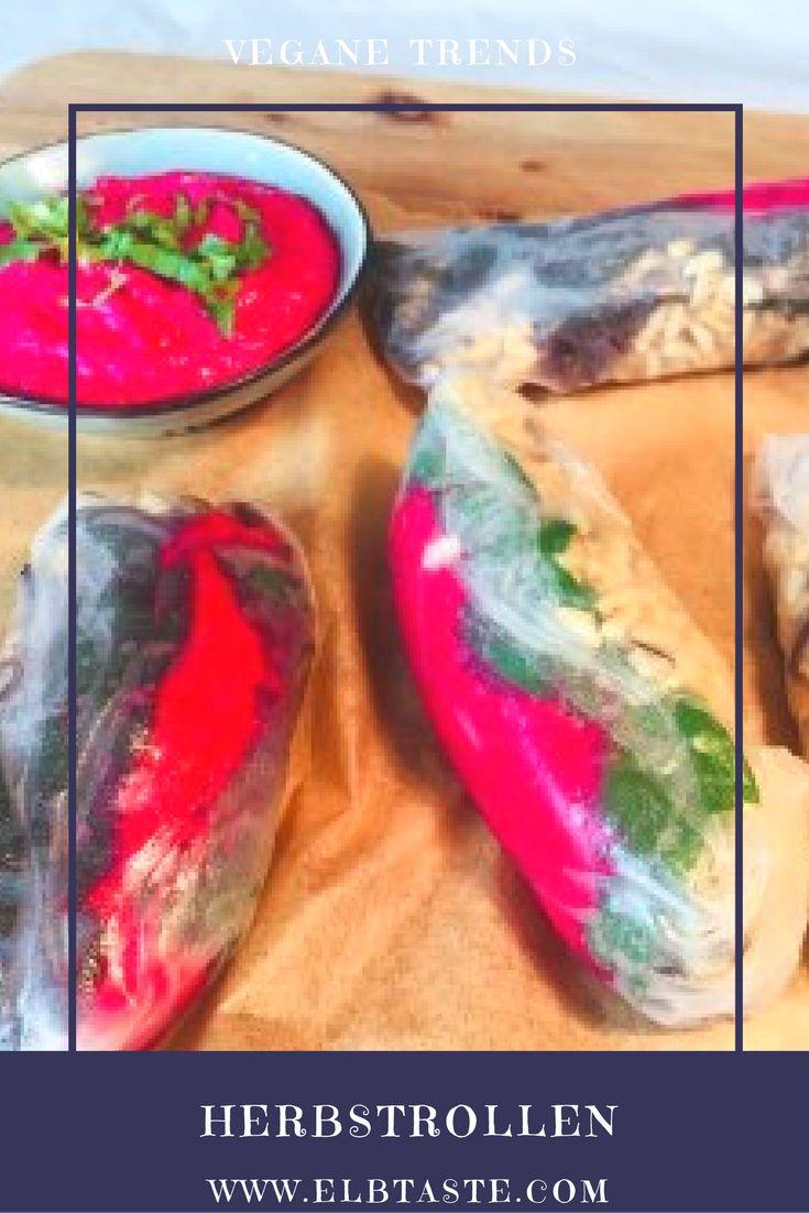 Einfach köstlich! Vegane Rote Herbstrollen Zutaten Reispapier 50 g Naturreis 25 g getrocknete Shitake-Pilze 20 g Rosinen 6 Mangoldblätter 6 Blätter Reispapier 1 EL Sesamöl 2 EL Sojasauce 150 g Sojajoghurt 3 TL Meerrettich 1 rote Bete Knolle Salz und Pfeffer ... Das gesamte Rezept und die Zubereitung dieses wunderbaren Gerichts findet ihr auf unserem Blog: www.elbtaste.com