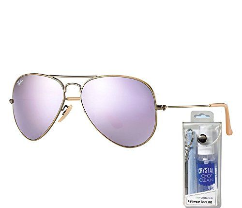 This is a bundle item which includes 1 Ray Ban Demigloss Brushed Bronze with Lilac Mirror Lens Aviator Sunglasses plus 1 Lens Cleaning Kit wh.