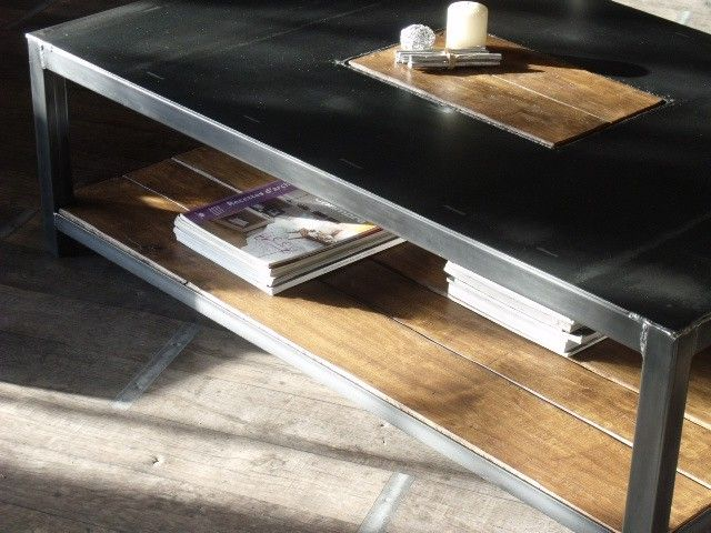 Ordinary Table Basse Metal Bois #9: Table-basse-metal-bois-industrielle