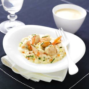 Tipiak : Risotto de Saint Jacques et Fruits de Mer Sauce Saint Jacques au Chablis