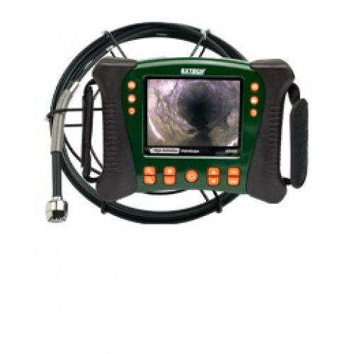 """http://handinstrument.se/inspektionskamera-r322/inspektionskamera-vvs-set-10m-sond-53-HDV650-10G-r34652  Inspektionskamera VVS-set, 10m sond  Innehåller flexibla, glasfiberkärna, 10m vattentät kamera sond (spolanordning)  25mm kamerahuvud (60 ° FOV, långt skärpedjup) med inbyggt ljus 12 lysdioder för belysning av de problemområden  5,7 """"LCD-färgskärm TFT med hög upplösning 640 x 480 VGA-upplösning  Robust olje / kemikaliebeständig och vatten / släpp bevis hölje (IP67)  Halk..."""