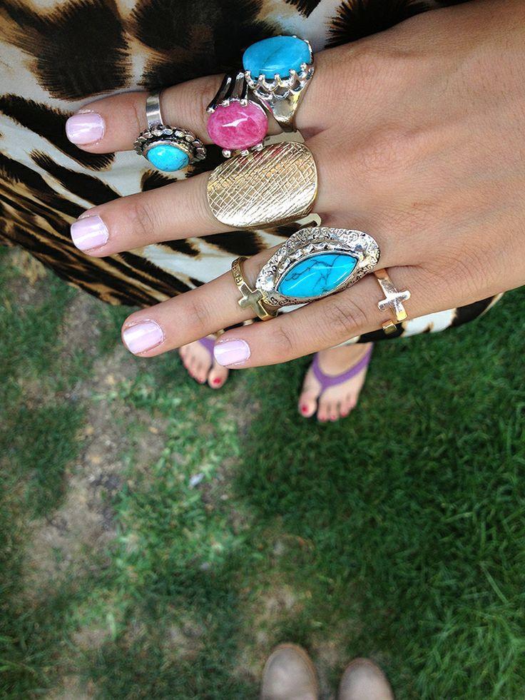 full anillos, turquesa, pink y dorados