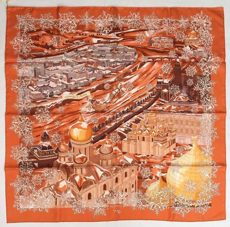 6fb3d6399c0a HERMES 90CM SILK SCARF De Passage A Moscou Orange   Hermes   Silk scarves,  Hermes, Silk