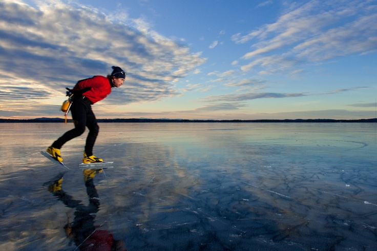 Nordic Skating On Sebago Lake Maine With L L Bean