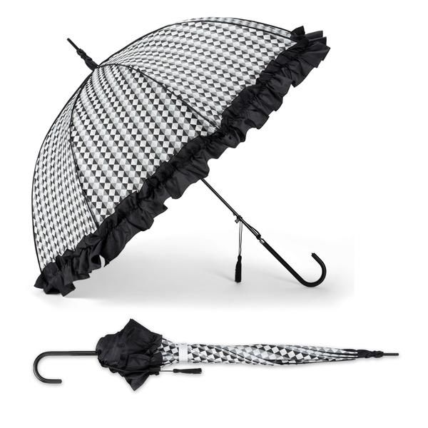 Description Dimensions Shipping Graphic checks and a ruffle decorate this generously sized stick umbrella. Features easy, automatic opening and a black tassel a
