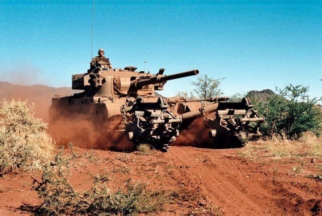 South African Olifant tank Mk. 1A, equipped with a mine trawl KMT-5.