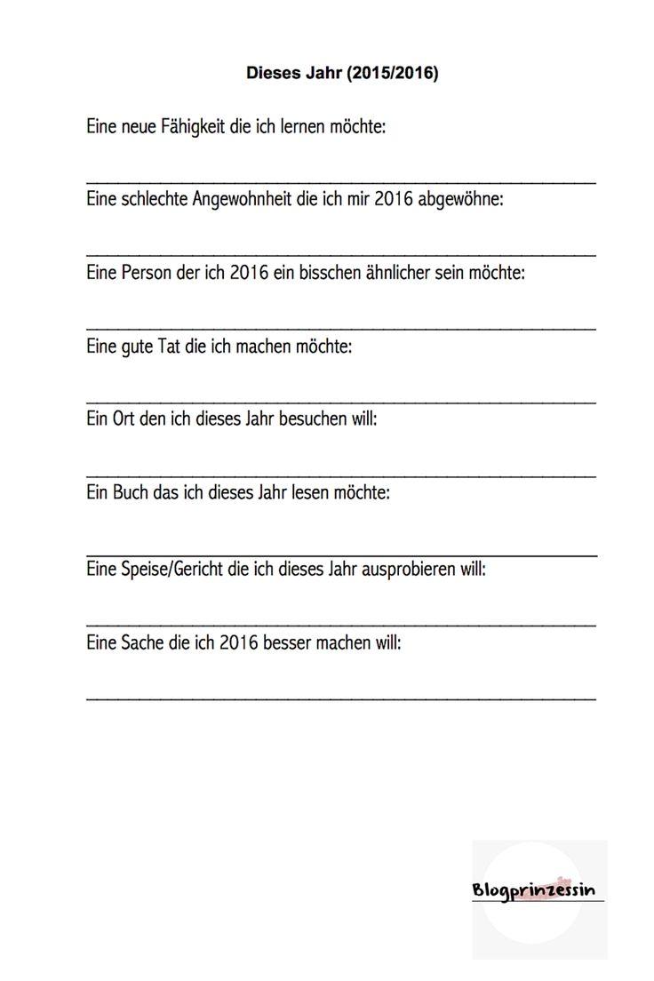 Gute Vorsätze Fragebogen für 2016 Printable
