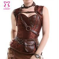 Black Brocade& Leather Steel Boned Steampunk Corset Plus Size Burlesque Costumes Armor Bustier Top With Shoulder Bolero