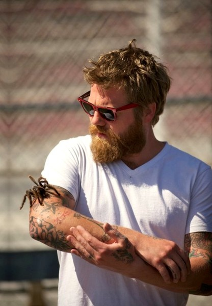 Bearded man and tarantula. Oh my god. My head is going to explode from all the sexiness
