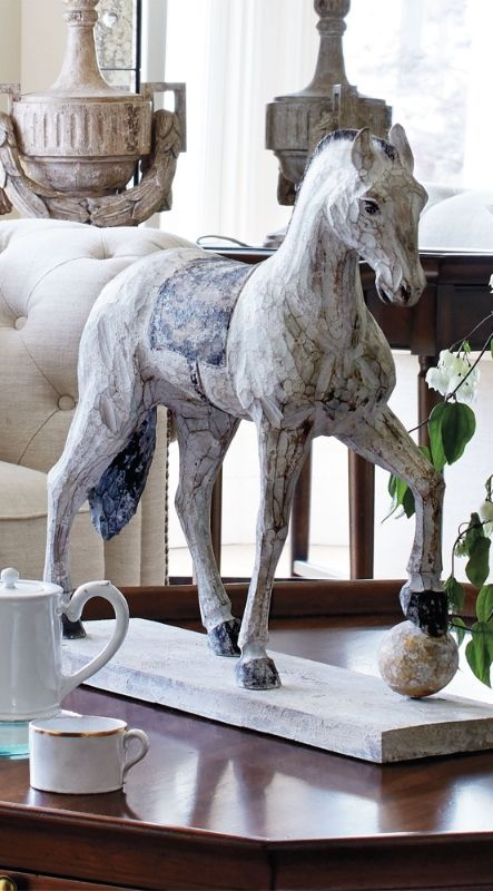 Handcarved by artisans, our Carousel Carved Horse is made from a single piece of wood, and then painted and distressed to have the patina of the carousel horses in the Jardin du Luxembourg, Paris' oldest garden.
