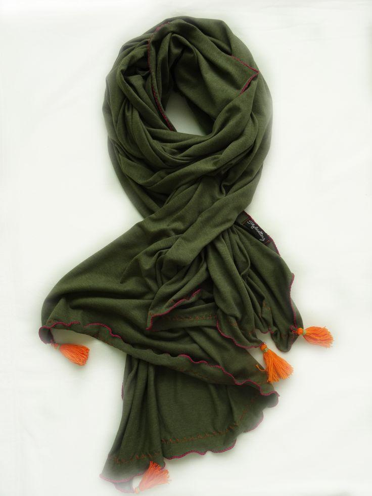 Army Love with Orange Tassels and Fuchsia Stitch Scarf by Stylesetterz Handmade Scarves @ www.facebook.com/stylesetterzhandmadescarves