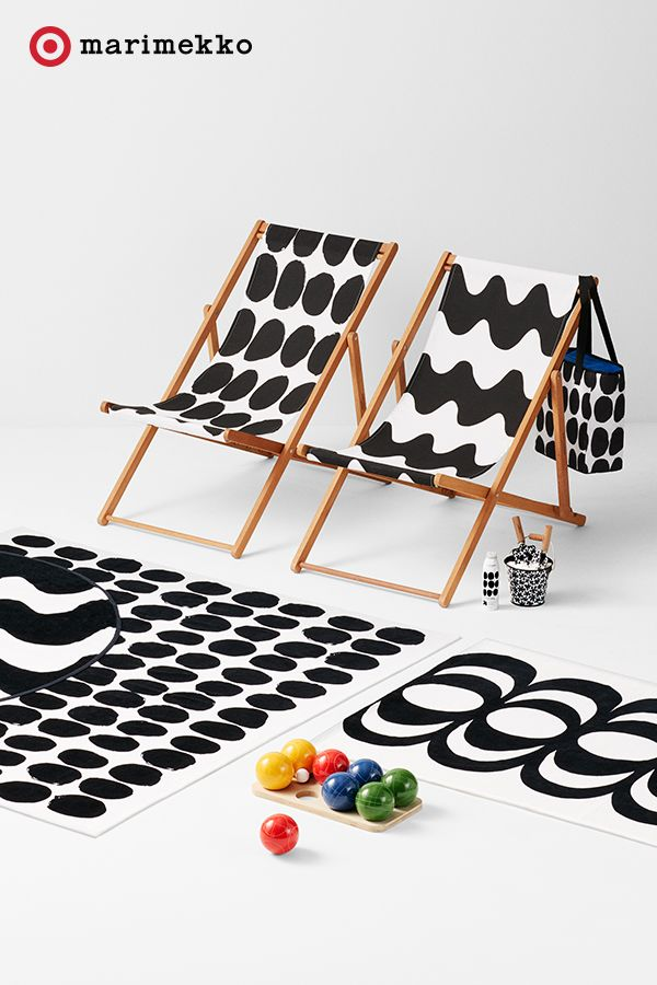 Lounge in modern print luxury with this stylish scene featuring must-have pieces from the Marimekko for Target collection. Pop up a couple of Deck Chairs, sit back and bask the day away. Bocce ball and all. Layer in some beautiful Beach Towels featuring the Koppelo and Kaivo prints. Summer days have never been so chic until now. Play with prints starting April 17th. Click to peruse the entire collection lookbook featuring fashion, home, outdoor and more.