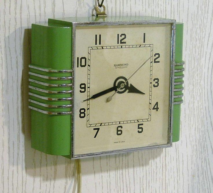 Vintage 1930 S Hammond Clock Wall Or Desk Deco Stewardess