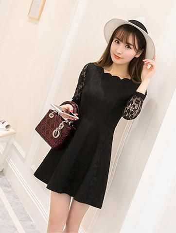 Lace Casual Dress Long Sleeve Party Mini Dresses
