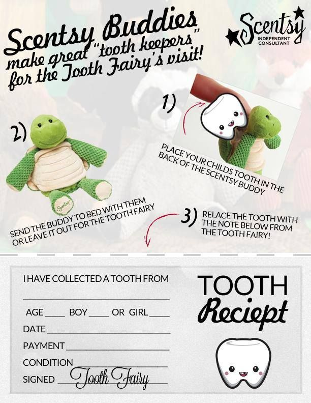 """Scentsy Buddies make great """"tooth keepers"""" for the Tooth Fairy's visit! ♥ https://johnsonj.scentsy.us"""