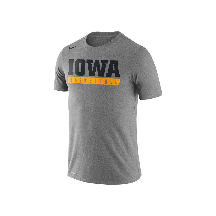 Men's Nike Iowa Hawkeyes Basketball Practice Dri-FIT Tee, Size: Large, Dark Grey
