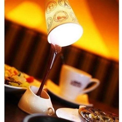 Dökülen Kahve Görünümlü Masa Lambası | buldumbuldum.com ile hediye et