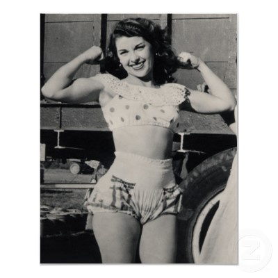 Circus Muscle Girl; Around the beginning of the 20th century a lot of strongwomen, female wrestlers and even female boxers appeared in the World.  Interesting article -> http://www.fscclub.com/history/borchihi2-e.shtml
