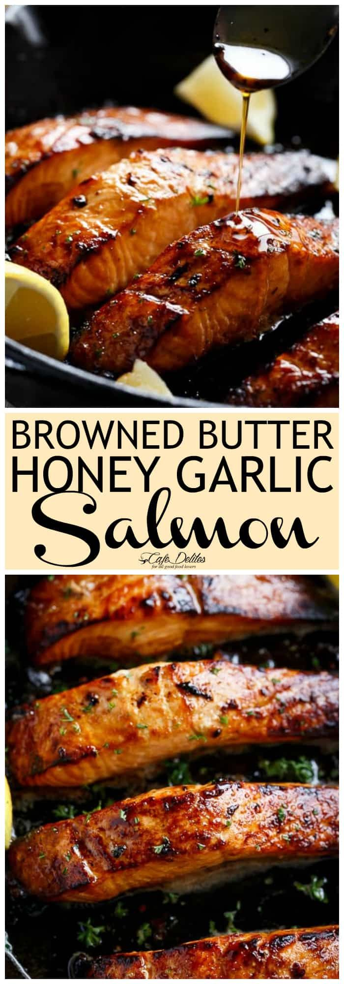 Browned Butter Honey Garlic Salmon is a great way to change up any salmon dinner! Only 3 main ingredients in under 15 minutes! #salmon #seafood #easy #recipes #dinner