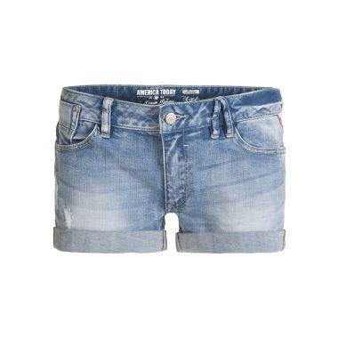 Sienna short - America Today dames jeans short    Maat: Deze short valt normaal. We adviseren de gebuikelijke maat te bestellen. Check de maattabel voor meer info over de maatvoering van America Today.    Materiaal: 98% katoen / 2% elastane