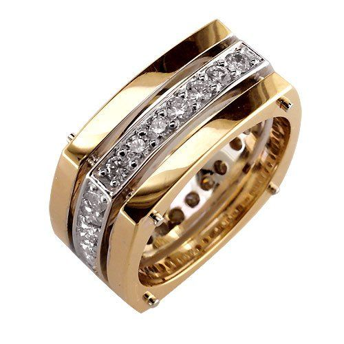 Wide 3 Row Mens Diamond Ring, 2 Tone 18K White and Pink Gold, 1.60CT size 13.5