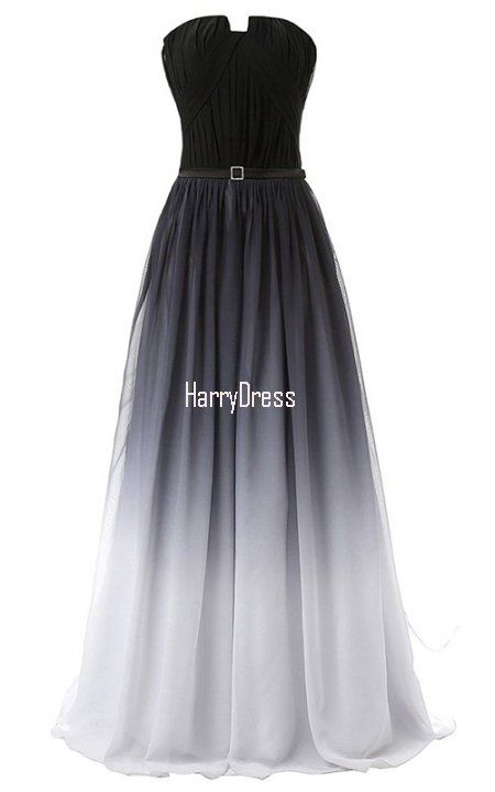 A Line Strapless Chiffon Sweep Train Gray Multi Colour Backless Long Prom Dress