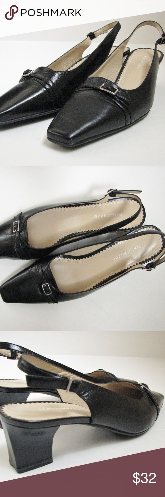 """Naturalizer Slingback Black Leather Shoes 8.5N Naturalizer Slingback Black Leather Women's Shoes Size 8 1/2N Leather upper, balance man made 1 7/8"""" heel Excellent used, like new condition Naturalizer Shoes"""